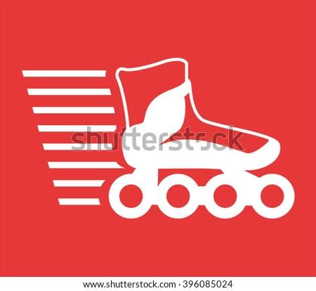 speed roller skate icon - stock vector
