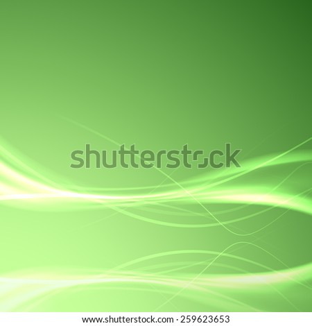 Speed smooth swoosh wave reflection background - light impulse electric streaks layout over green. Vector illustration