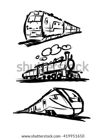 Speed train, sketch for your design - stock vector