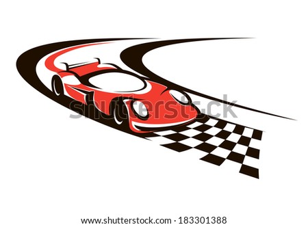 Speeding racing car logo crossing the finish line as it roars around a bend towards the checkered flag - stock vector