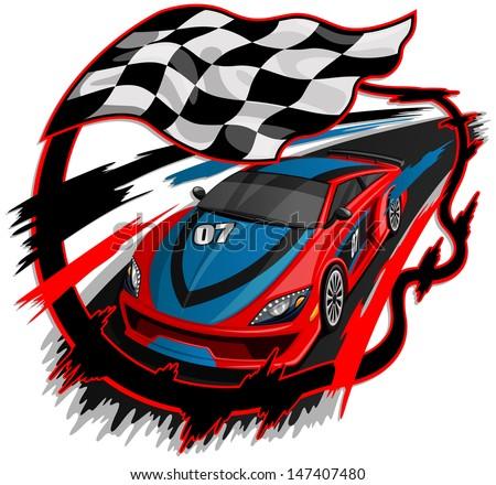 Speeding Racing Car with Checkered Flag & Racetrack Design  - stock vector