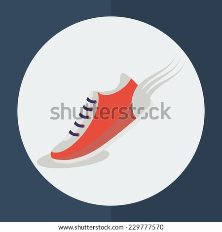Speeding running shoe icons. Trainer, sneaker or sports shoe with speed and motion trails, logo element on white. Vector illustration. - stock vector