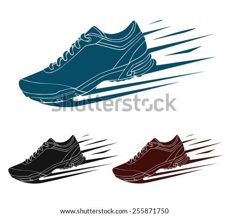 Speeding running shoe, sneaker or sports shoe with speed and motion trails, vector silhouette - stock vector