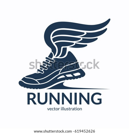 speeding running shoe symbol icon logo stock vector 619452626 rh shutterstock com shoe with wing logo name shoe with wings logo answer is called