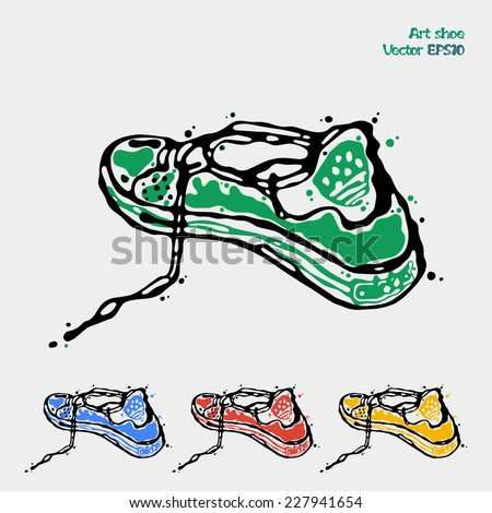 Speeding sports shoes, logo icons for running, sneakers are presented in four colors green, blue, red yellow. Abstract art drawing executed in ink and pencil. Vector illustration silhouette on white. - stock vector