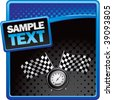 speedometer and checkered flags on blue and black halftone template - stock vector