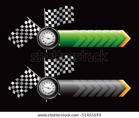 speedometer and checkered flags on green and black arrows - stock vector