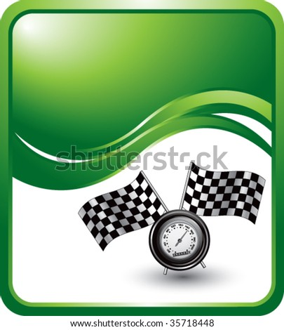 speedometer and checkered flags on green wave backdrop - stock vector