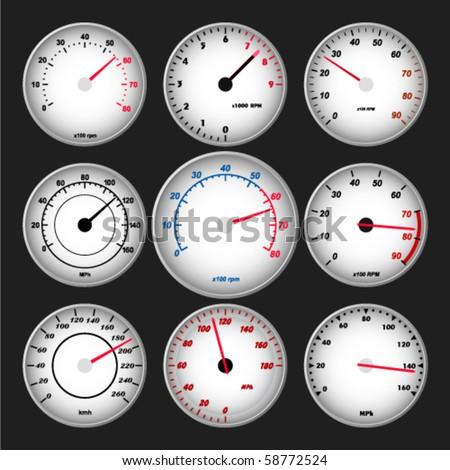 Speedometer and RPM gauge set - stock vector