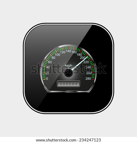Speedometer black glossy button, vector