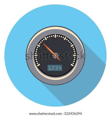 speedometer flat icon in circle - stock vector