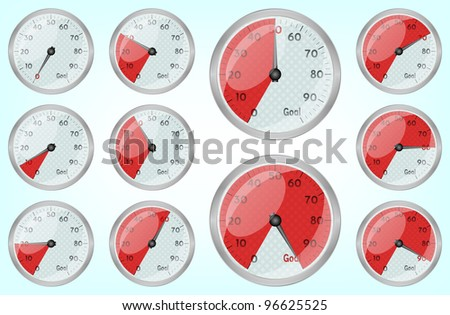 Speedometer graphic showing progress towards goal, 10eps. - stock vector