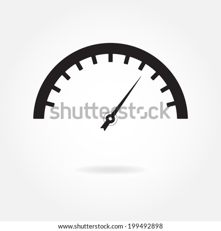 Speedometer icon or sign. Isolated vector illustration on white background. - stock vector