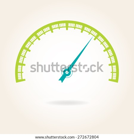 Speedometer icon or sign with arrow. Infographic gauge element. Colorful vector illustration.  - stock vector