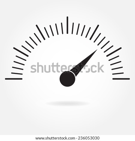 Speedometer icon or sign with arrow. Infographic gauge element. Vector symbol. Black tachometer isolated on white background.  - stock vector