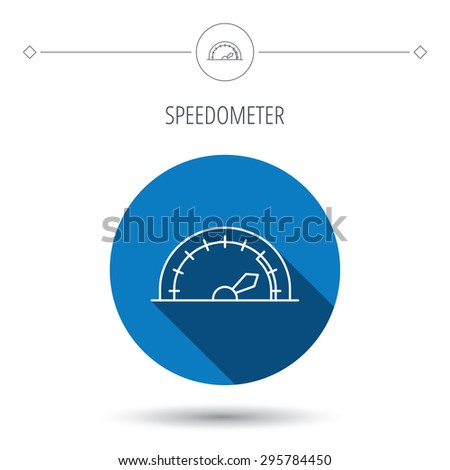 Speedometer icon. Speed tachometer with arrow sign. Blue flat circle button. Linear icon with shadow. Vector - stock vector