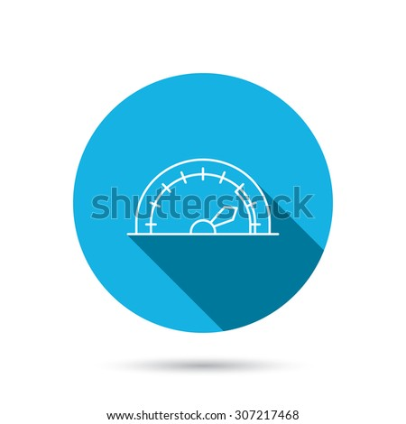 Speedometer icon. Speed tachometer with arrow sign. Blue flat circle button with shadow. Vector - stock vector
