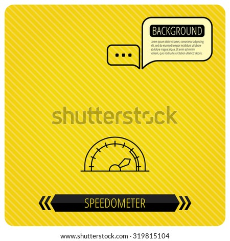 Speedometer icon. Speed tachometer with arrow sign. Chat speech bubbles. Orange line background. Vector - stock vector