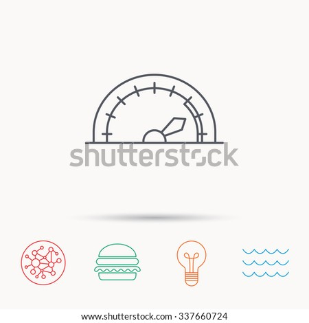 Speedometer icon. Speed tachometer with arrow sign. Global connect network, ocean wave and burger icons. Lightbulb lamp symbol. - stock vector