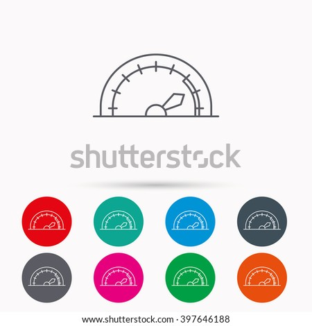 Speedometer icon. Speed tachometer with arrow sign. Linear icons in circles on white background. - stock vector