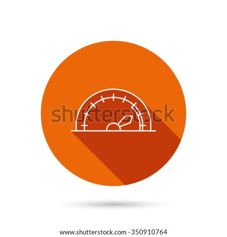 Speedometer icon. Speed tachometer with arrow sign. Round orange web button with shadow. - stock vector