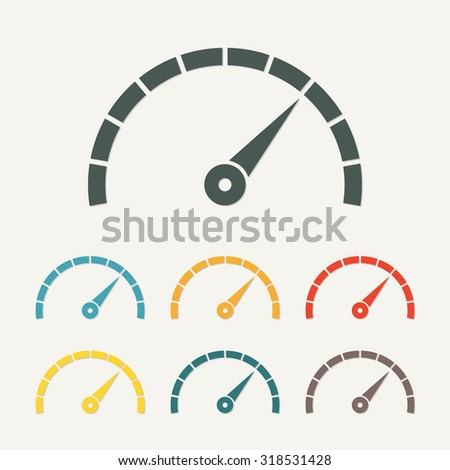 Speedometer icon with arrow. Infographic gauge element. Template for download design. Colorful vector illustration in flat style. - stock vector
