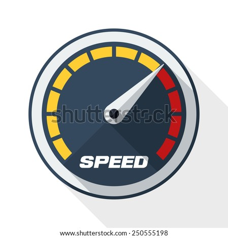 Speedometer icon with long shadow on white background - stock vector
