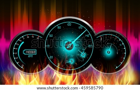 Speedometer in fire.Vector