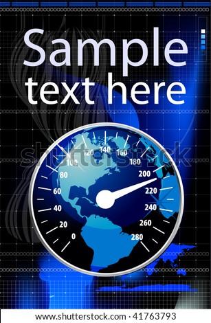 Speedometer in form globe vector illustration. Global warming concept - stock vector