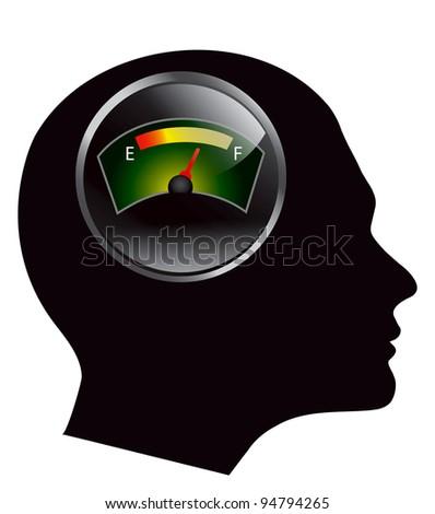 speedometer in human head vector eps 10 - stock vector