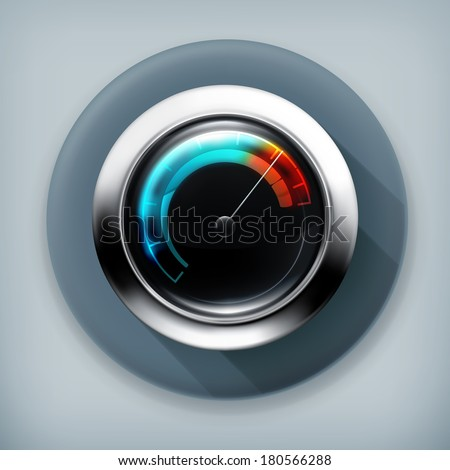 Speedometer, long shadow vector icon - stock vector