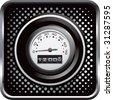 speedometer on black halftone web button - stock vector