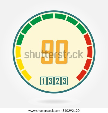 Speedometer or tachometer icon. Infographic gauge element. Template for download or upload design. Colorful vector illustration in flat style. - stock vector
