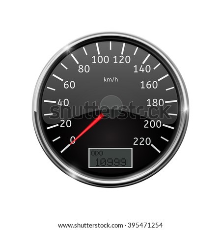 Speedometer. Realistic illustration, with chrome frame. Vector isolated on white background