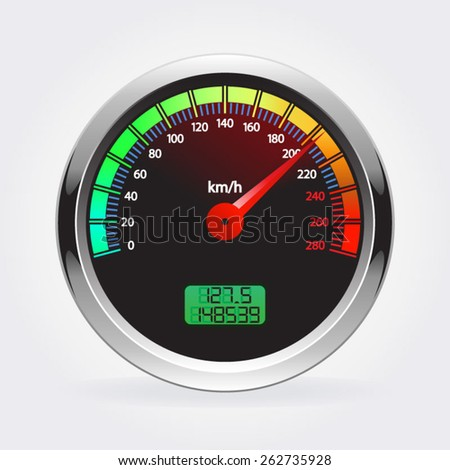 Speedometer vector illustration isolated on white background - stock vector