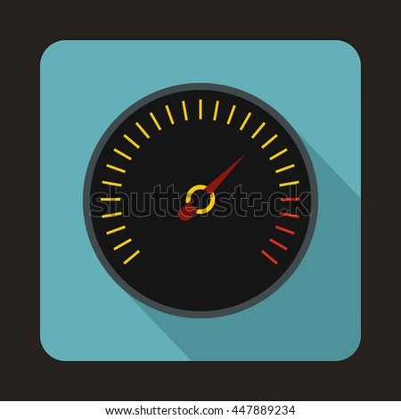 Speedometer with black background icon in flat style with long shadow. Auto spare parts symbol