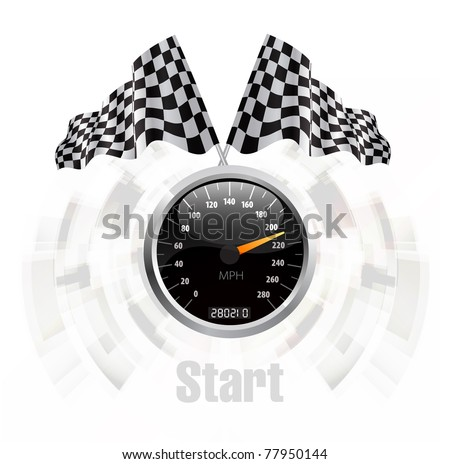 Speedometer with checkered flag background concept illustration