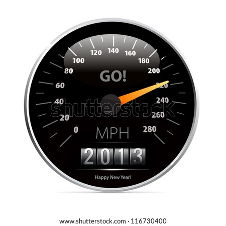 Speedometer with 2013 counter in vector on white background - stock vector