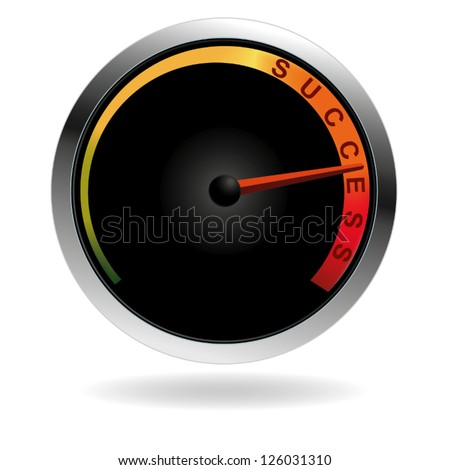 Speedometer with red needle pushing to the word success - stock vector