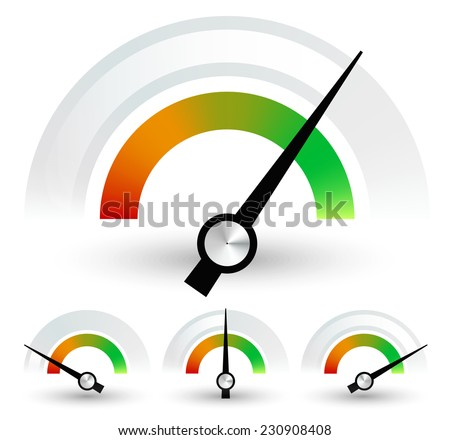 Speedometers or general indicators with needles. set at 4 stages - stock vector