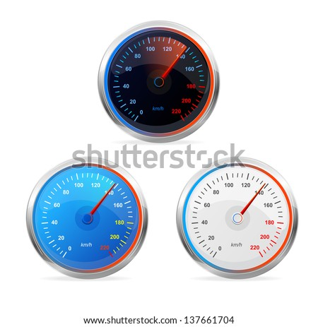 Speedometers, vector set - stock vector
