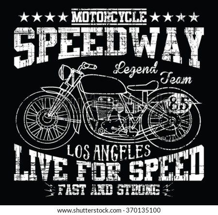 Motorcycle typography vintage motor tshirt graphics stock for Motor speedway los angeles