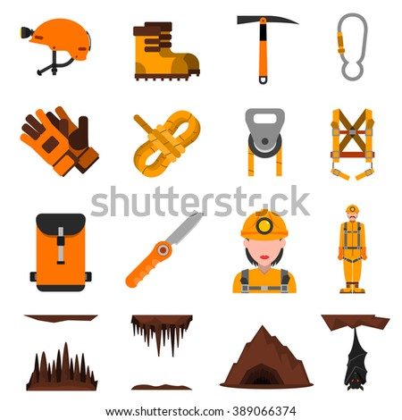 Speleologist in helmet with light harness equipment and ice axe flat icons set abstract isolated vector illustration   - stock vector