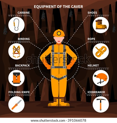 Speleologists caving equipment for underground exploring surveying and protection pictorial infographic elements flat banner abstract vector illustration - stock vector