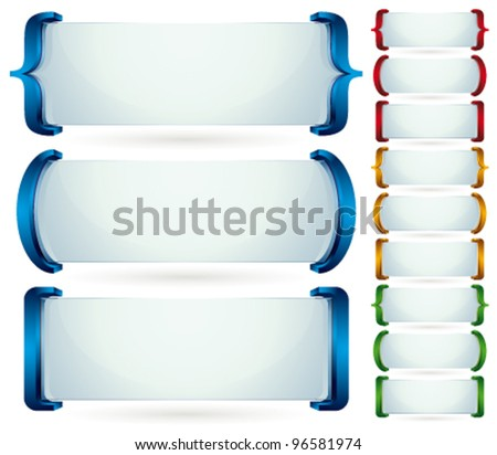 Spelling brackets for your text. 3d vector banners set. Collection of color and shape versions. - stock vector