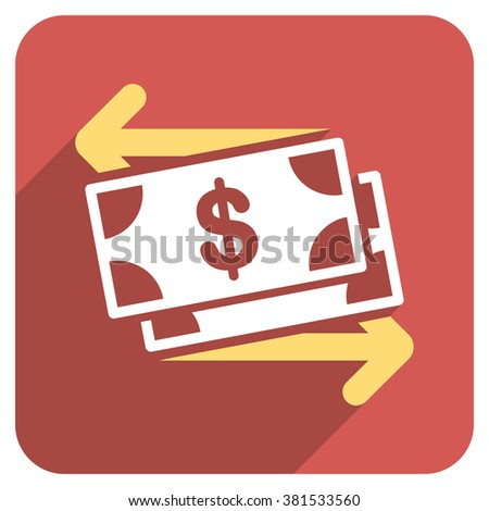 Spend Banknotes long shadow vector icon. Style is a flat symbol on a red rounded square button. - stock vector