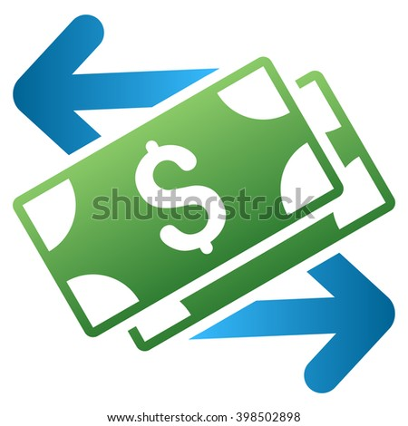 Spend Banknotes vector toolbar icon for software design. Style is a gradient icon symbol on a white background. - stock vector