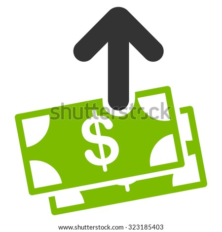 Spend Money vector icon. Style is bicolor flat symbol, eco green and gray colors, rounded angles, white background.
