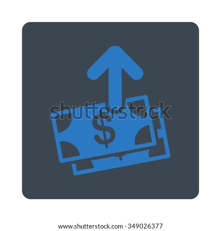 Spend Money vector icon. Style is flat rounded square button, smooth blue colors, white background.