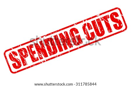 SPENDING CUTS red stamp text on white - stock vector